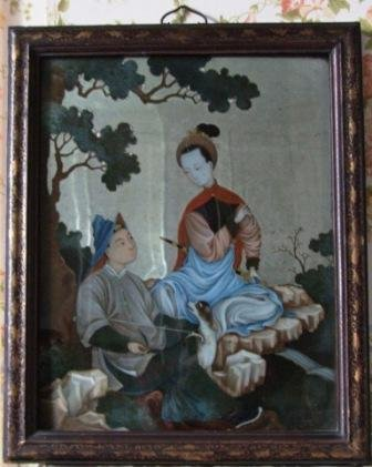 Chinese Mirror Painting - Couple Sat on Rocks with a Dog