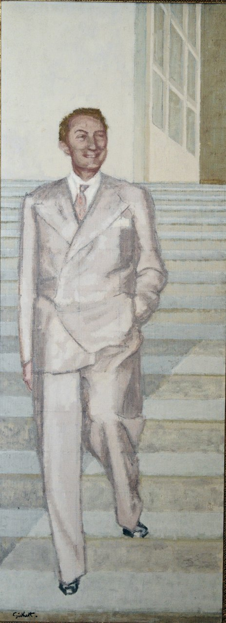 Full length, descending steps. Signed l.l. Sickert. Oil on canvas 91 ins by 33 1/2 ins.