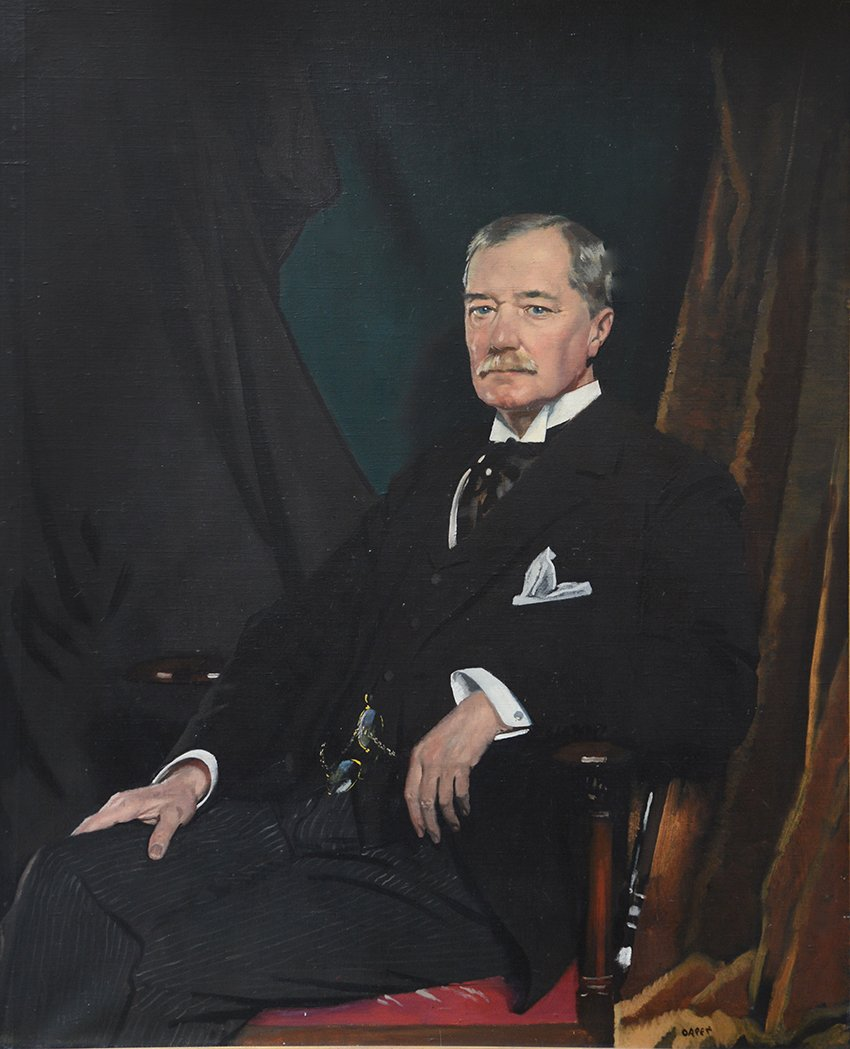 As Chairman of the Great Central Railway, 1899 - 1923. Three quarter length, seated. Signed Orpen l.r. Oil on canvas 49 1/2 ins by 39 1/2 ins.