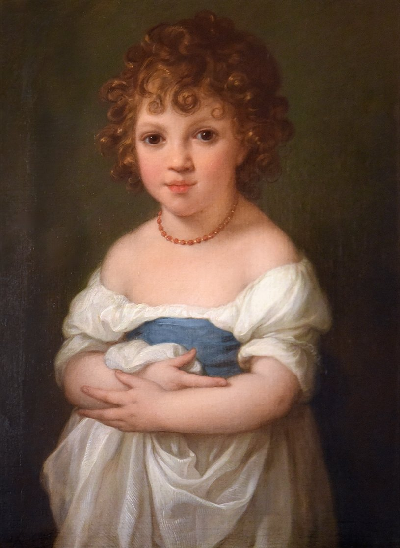 Half length, wearing a loose white dress with a blue band and coral  necklace. Signed l.l  Angelica Kauffman Pinx. Rome 1793. Oil on canvas, 24 3/4 inches by 20 1/2 inches.