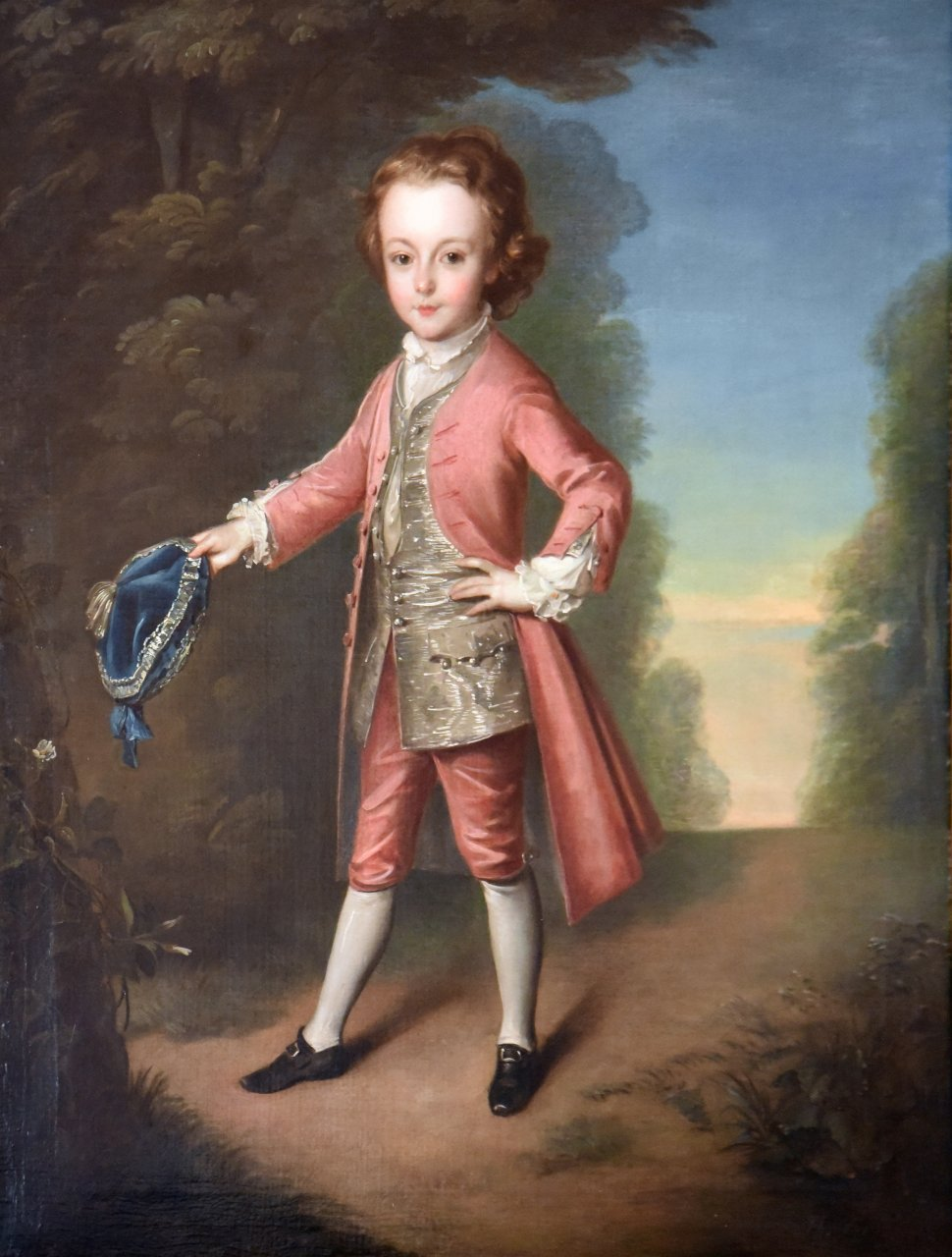 Full-length, wearing pink coat and breeches with silver waistcoat, holding a blue velvet cap edged with silver thread, a landscape beyond. Signed l.r. Ph. Mercier/1740. Oil on canvas, 48 3/4 inches by 39 1/2 inches.