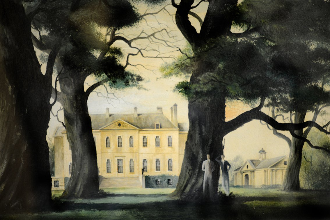 Buscot Park from the south, with two figures