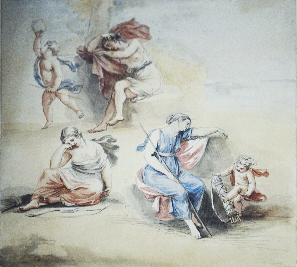 A Sheet of Studies of Five Figures