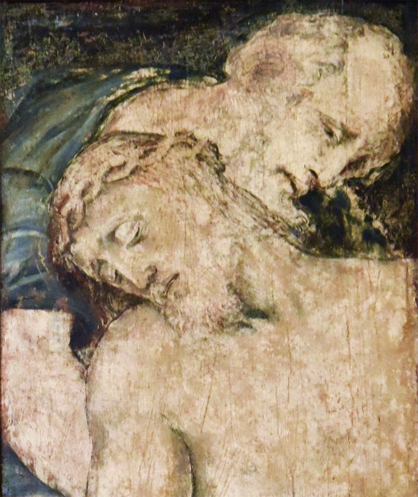 Oil on panel, a fragment, 21 7/8 ins by 16 7/8 ins. Possibly a sketch fragment for Michaelangelo's Stations of the Cross.