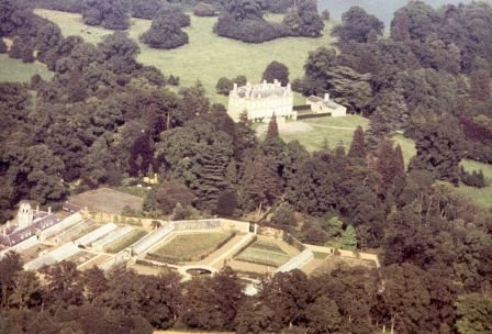 This aerial view of Buscot Park was taken in 1977, before the present Lord and Lady Faringdon began their redesign of the Walled Garden and surrounding grounds