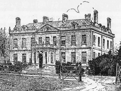 A woodcut of around 1860, by Laurence Davis, showing the new porch and steps added to the front of the house by Robert Campbell