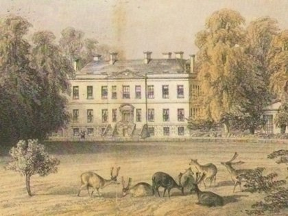 A mid-nineteenth century view of the Loveden house and the maturing landscape (lithograph by J.S. Kell)