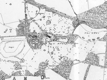 Ordnance Survey map of 1876, showing Campbell's extensive alterations to the parkland surrounding the mansion, including the creation of the reservoir and a new approach to the house