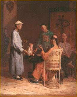 Four Chinese Men Drinking Tea and Smoking
