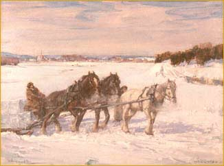 A Horsedrawn Sledge in a Winter Landscape