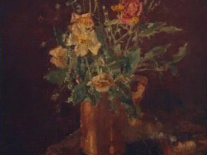 Roses and Buttercups In a Copper Jug, 1971 (No.240) by Allan Gwynne Jones, RA