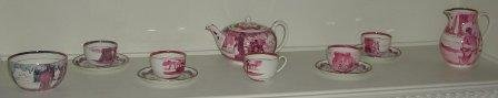 A pink Wedgewood lustre part tea service